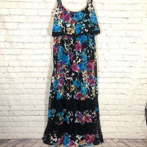 Torrid Multi Color Floral and Lace Maxi Dress
